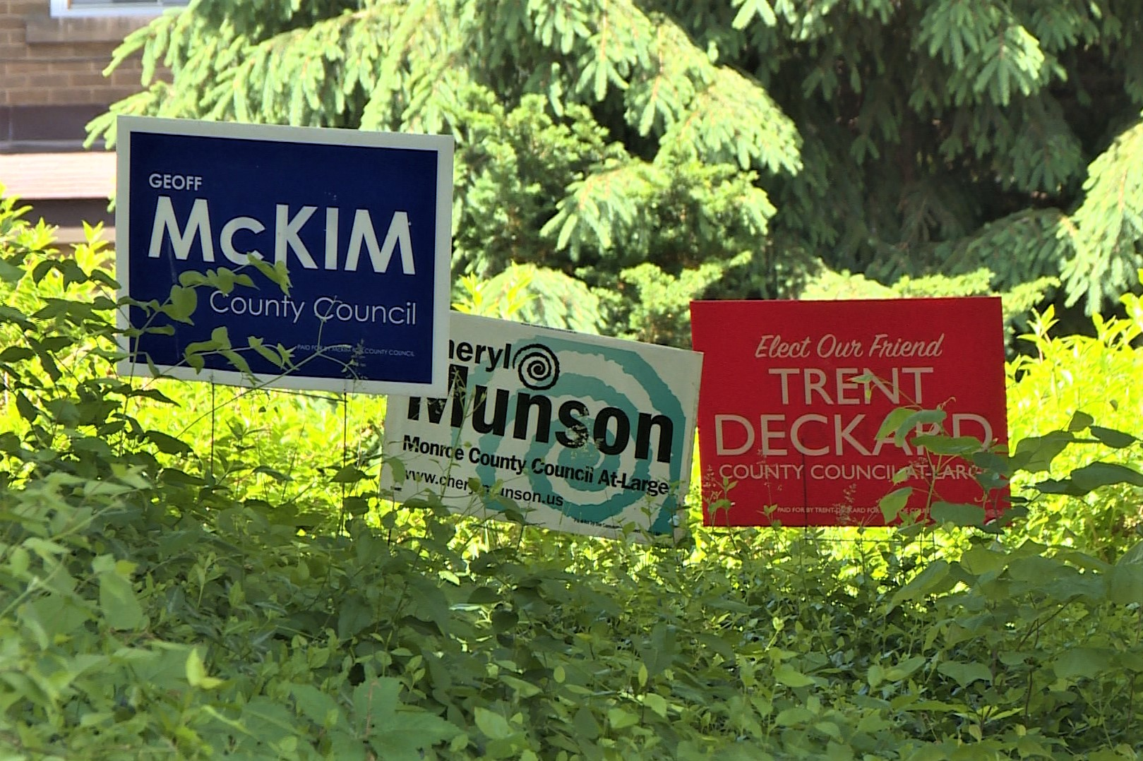 Campaign signs in a yard before the 2020 Indiana Primary election.