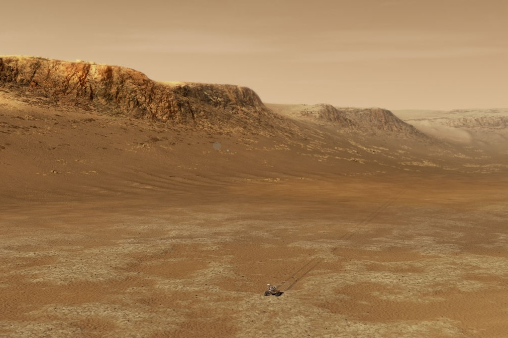 An artist's rendering of Mars rover Perseverance exploring the Jezero crater.