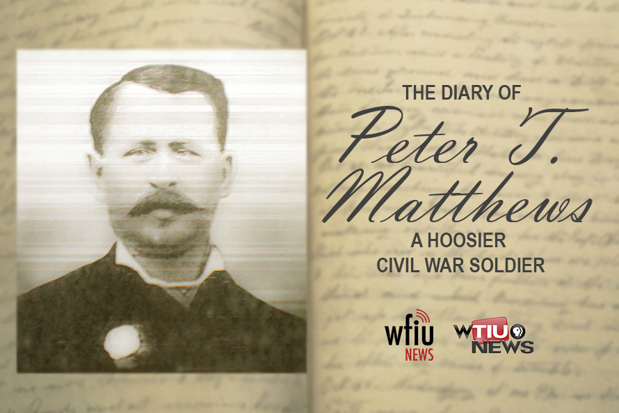 Civil war graphic photo of peter matthews over the inside of his diary