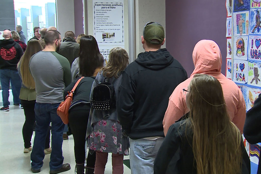 A line of voters at Summit Elementary School in Monroe County.