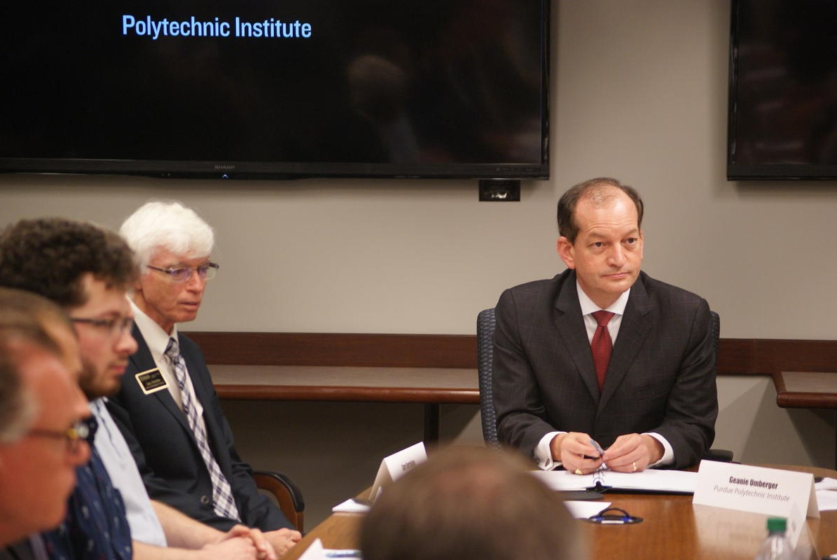 U.S. Secretary of Labor Alexander Acosta participates in a roundtable discussion with Indiana cybersecurity businesses and Purdue students and faculty.
