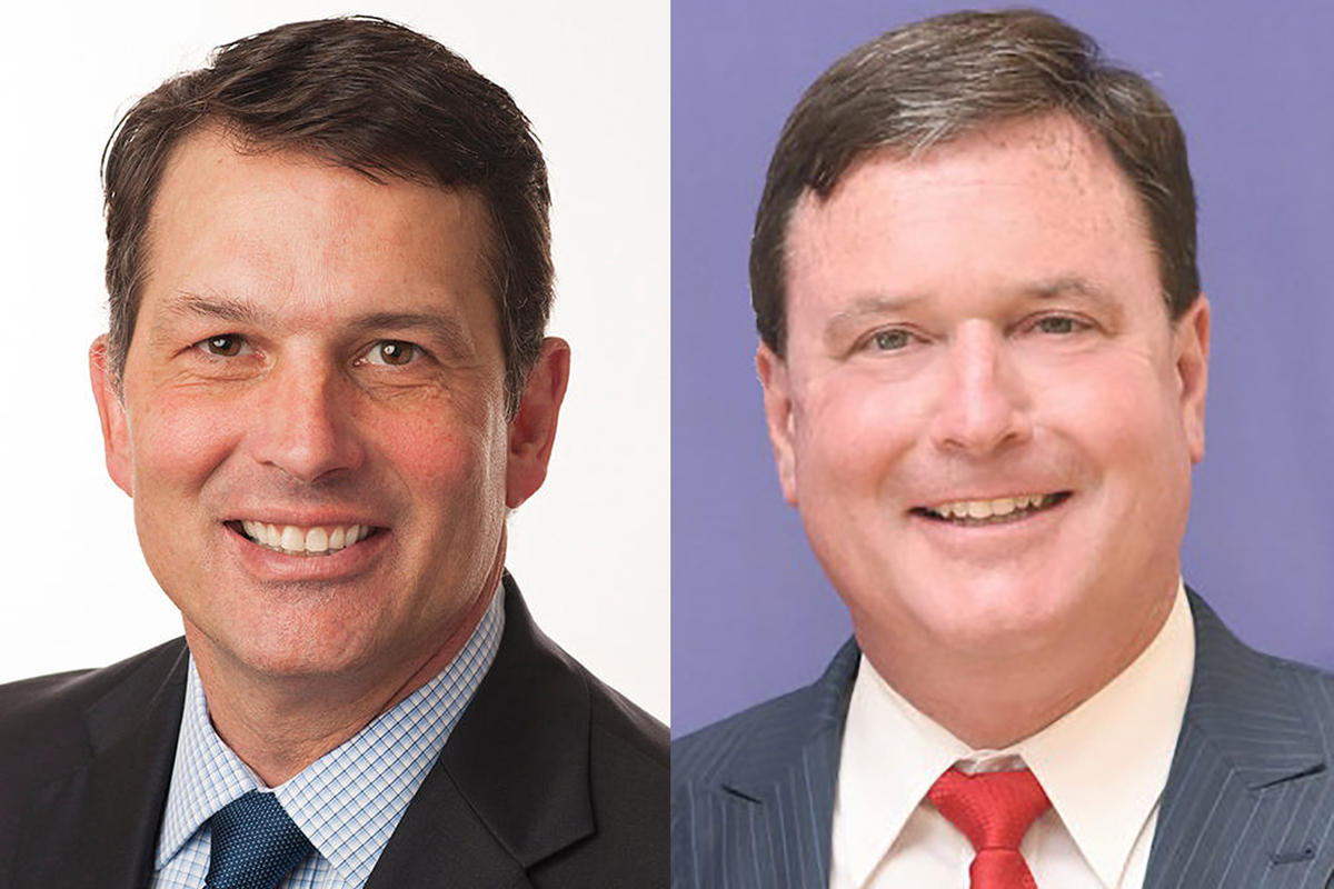 Jonathan Weinzapfel, left, and Republican Todd Rokita.