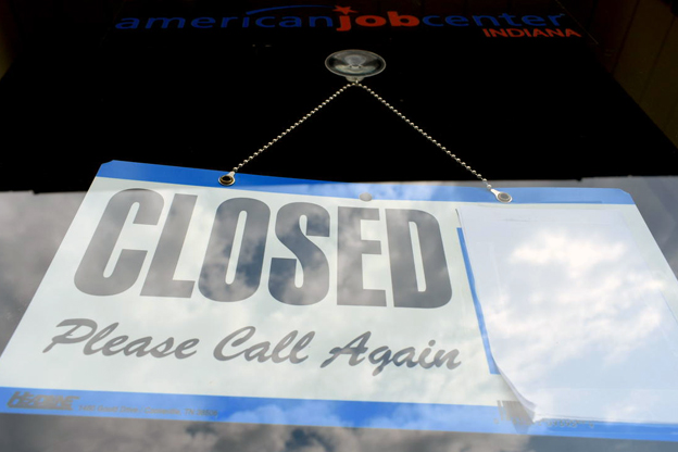 Job Center closed sign