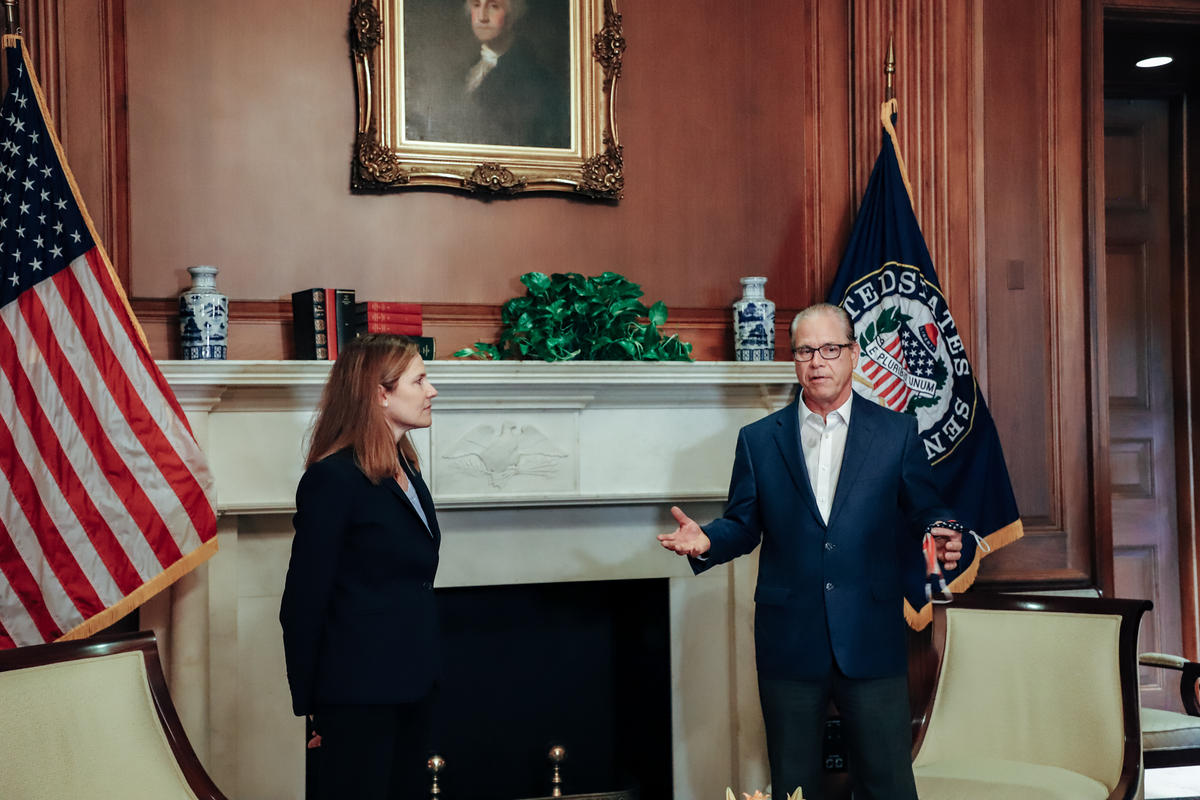 U.S. Sen. Mike Braun (R-Ind.) meets with Supreme Court nominee Amy Coney Barrett.