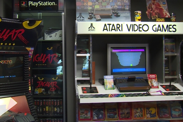 An old Atari game console sits in Tod Curtis' basement
