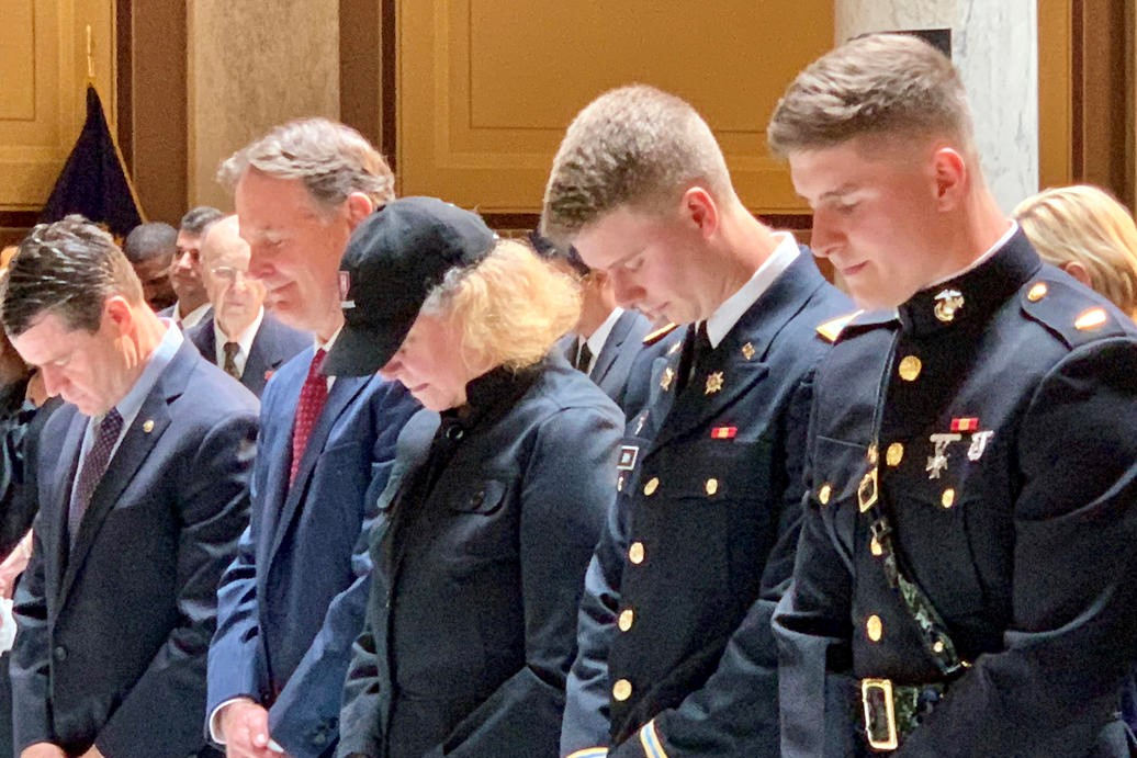 Evan Bayh, left, with his wife Susan and sons Nick and Beau at the Statehouse memorial for Evan's father, Birch Bayh.
