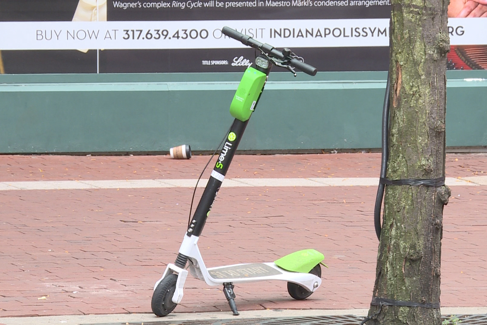 Lime Scooter on Indianapolis Sidewalk