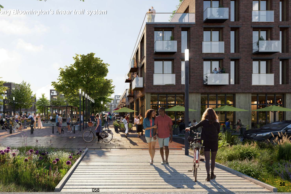 A potential look at a new plaza along the B-Line Trail after the hospital site is redeveloped.