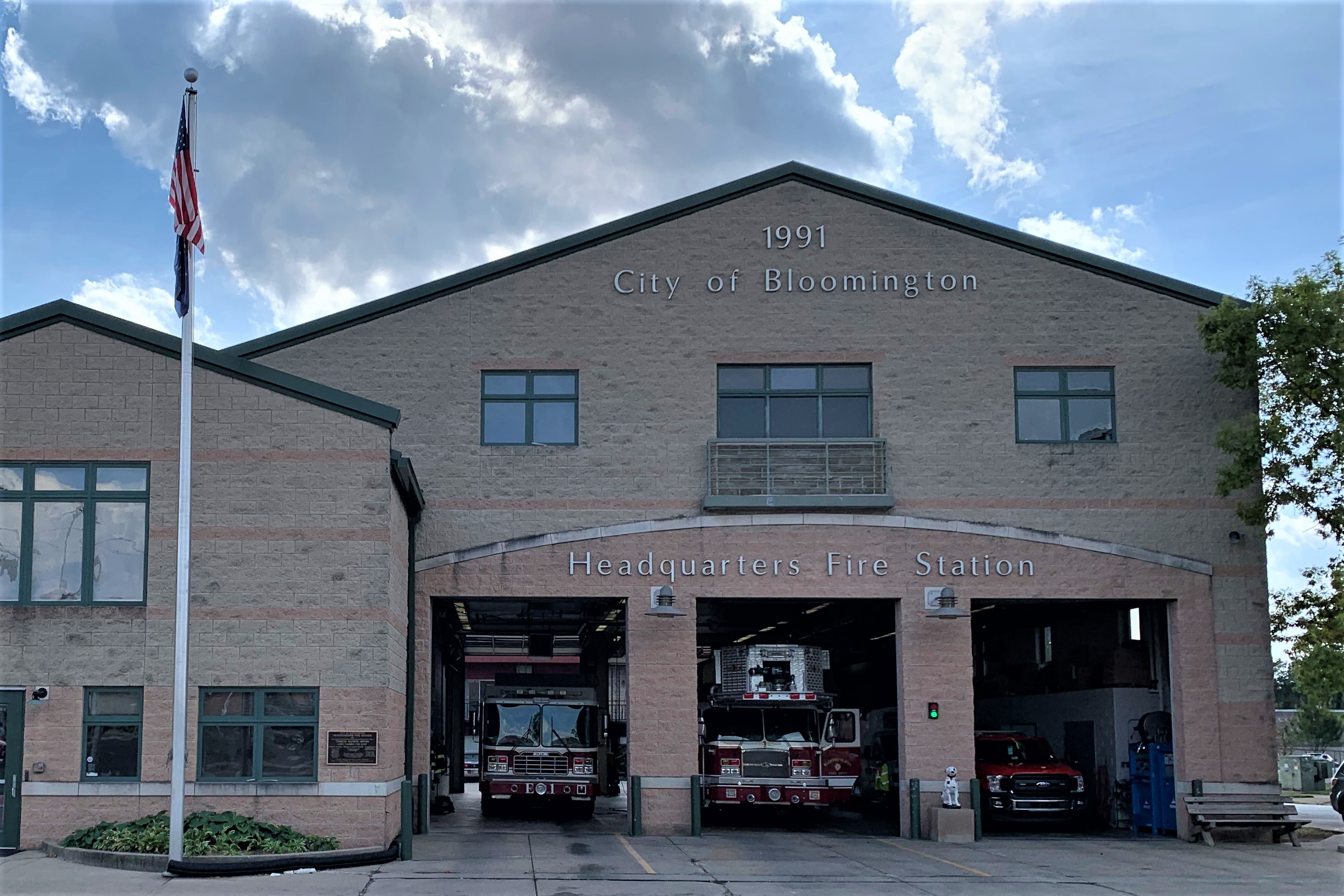 The exterior of the Bloomington Fire Station Headquarters.