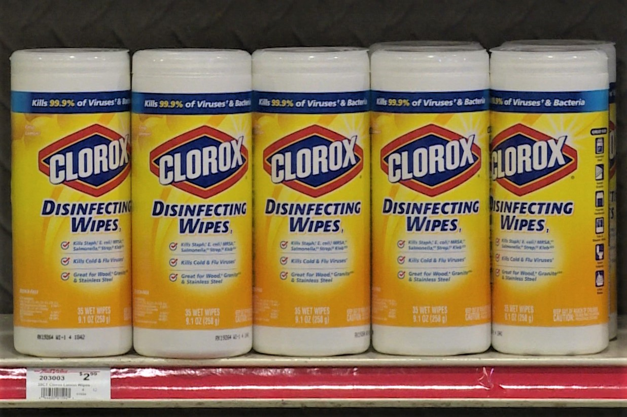 A shelf of Clorox brand disinfecting wipes at Bloomington Hardware.