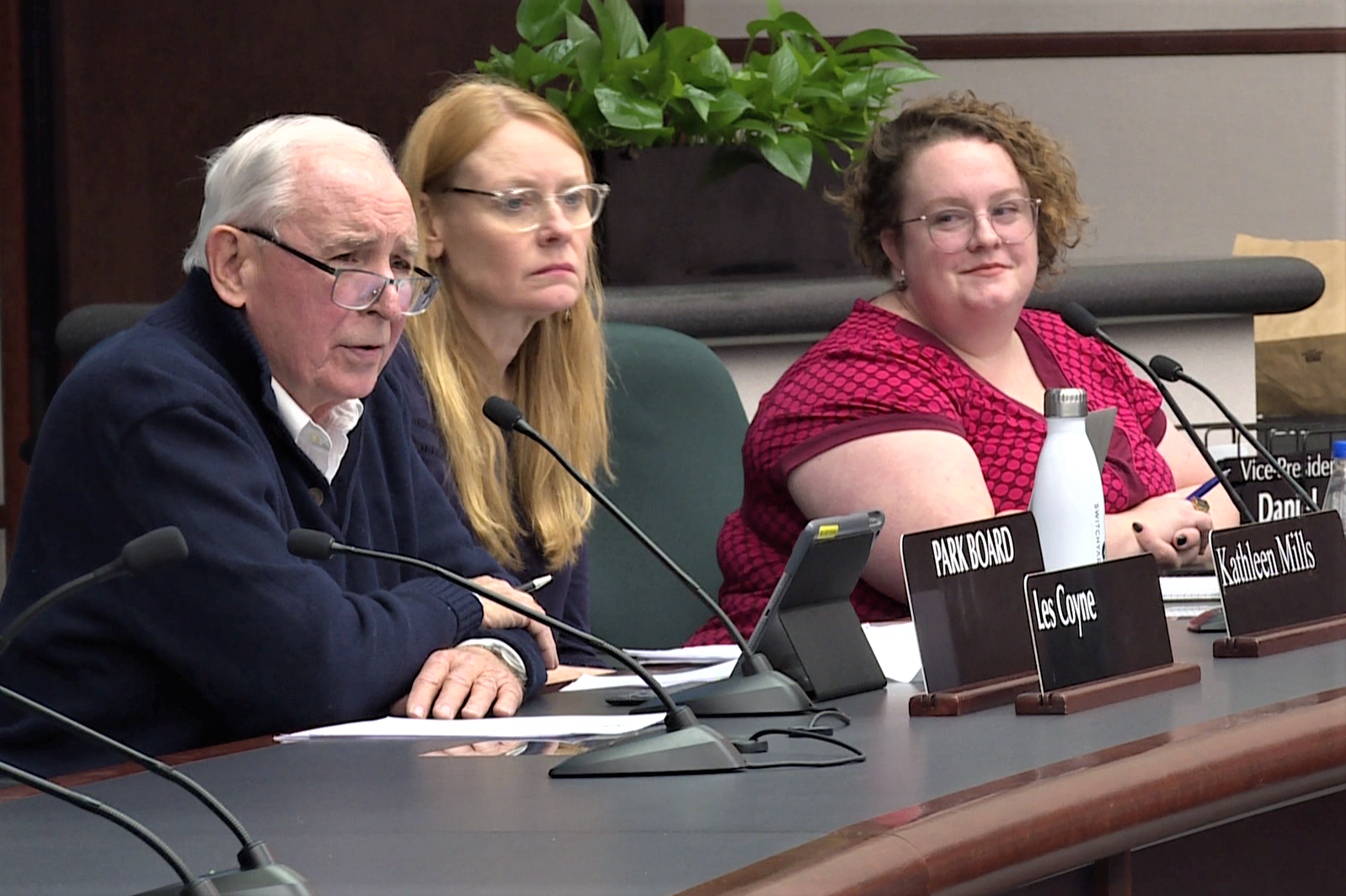 Les Coyne, Kathleen Mills and Lisa Thacker of the Bloomington Board of Parks Commissioners meeting on Jan. 9, 2019.