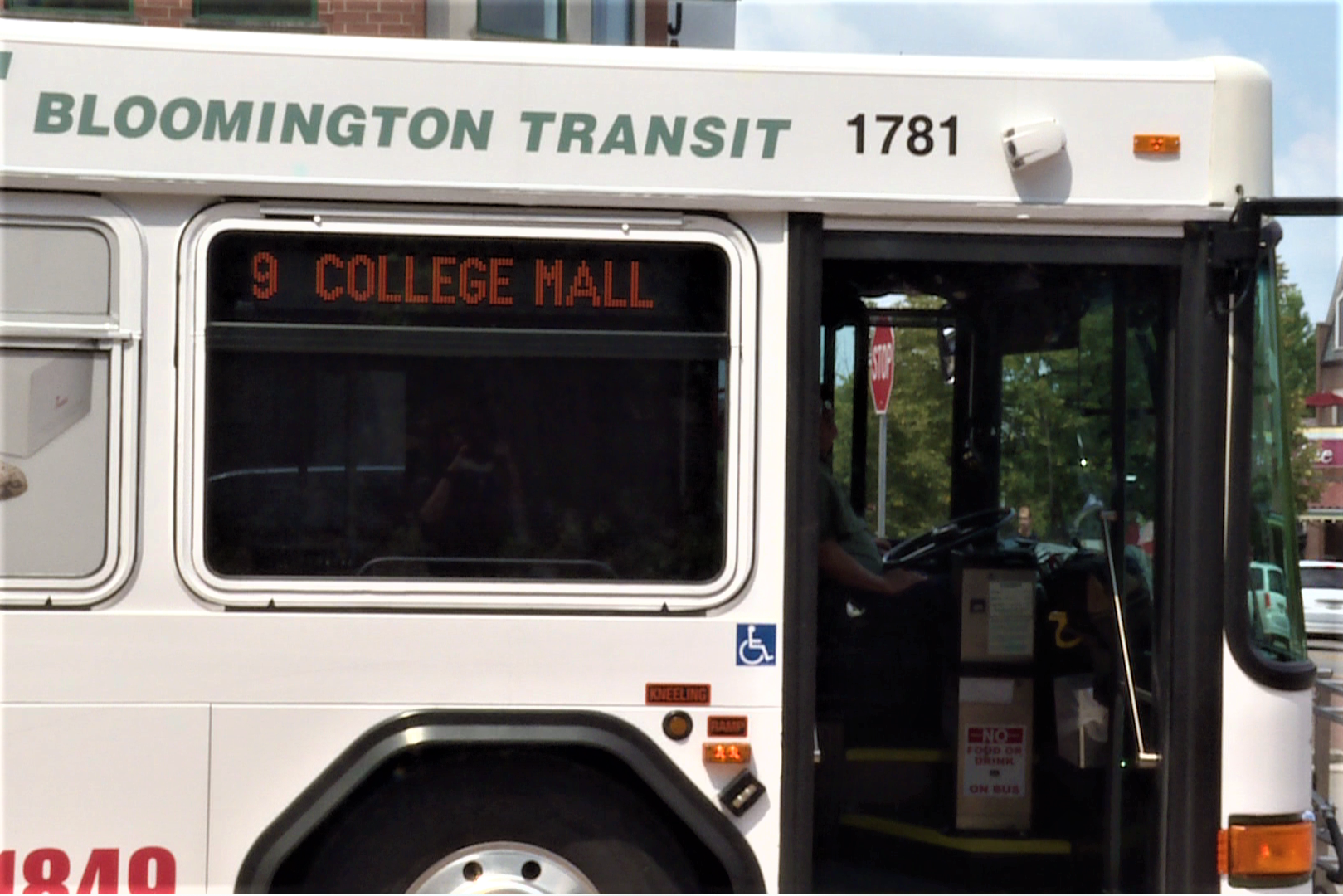 A Bloomington Transit public transportation bus in service.