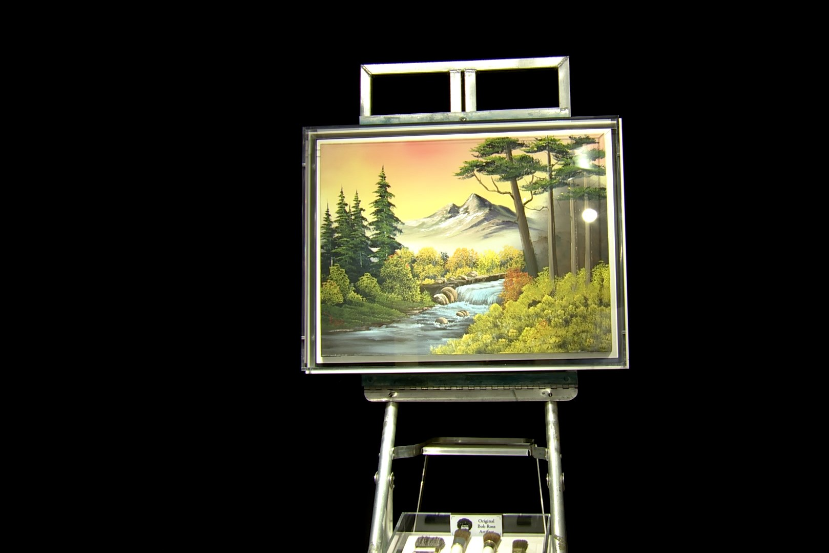 A painting at the Bob Ross exhibit in Muncie.