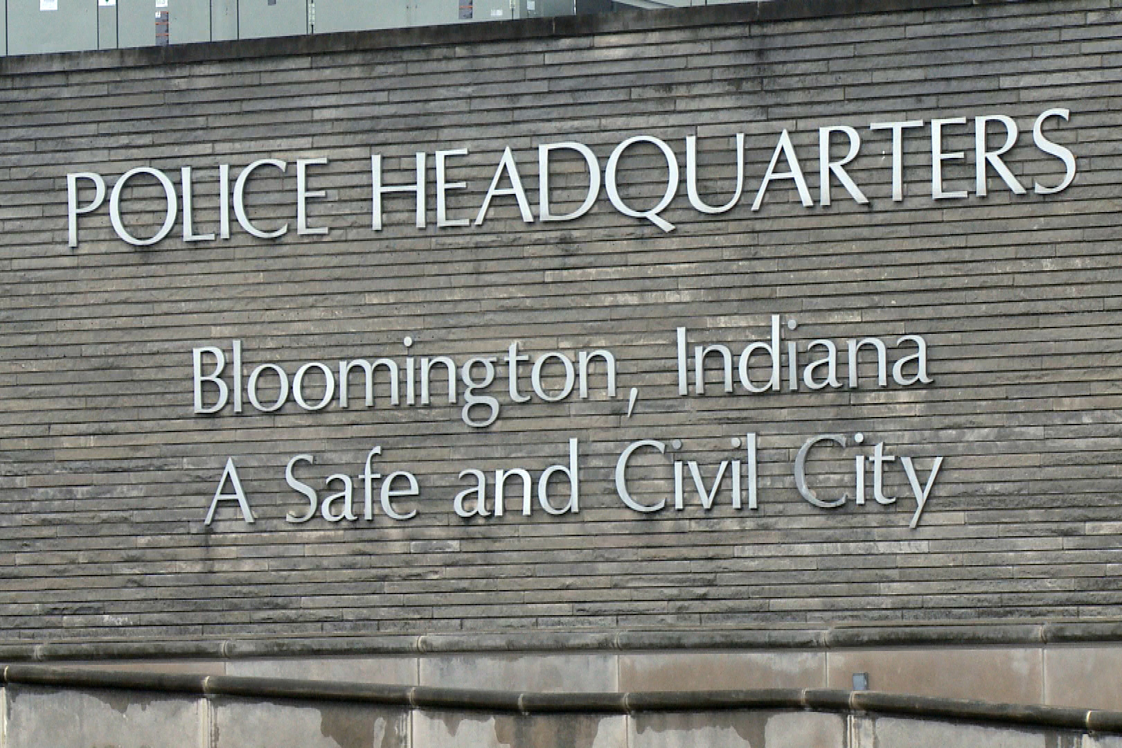 The sign at the Bloomington Police Department's HQ