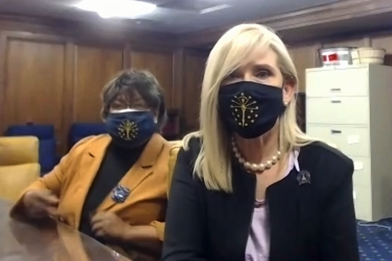 Indiana Senators Jean Breaux and Shelli Yoder speak during a Zoom presser.