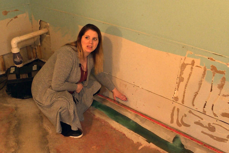 Bartholomew County resident Amanda Burdine shows where the water line was in her basement during this February's flooding.