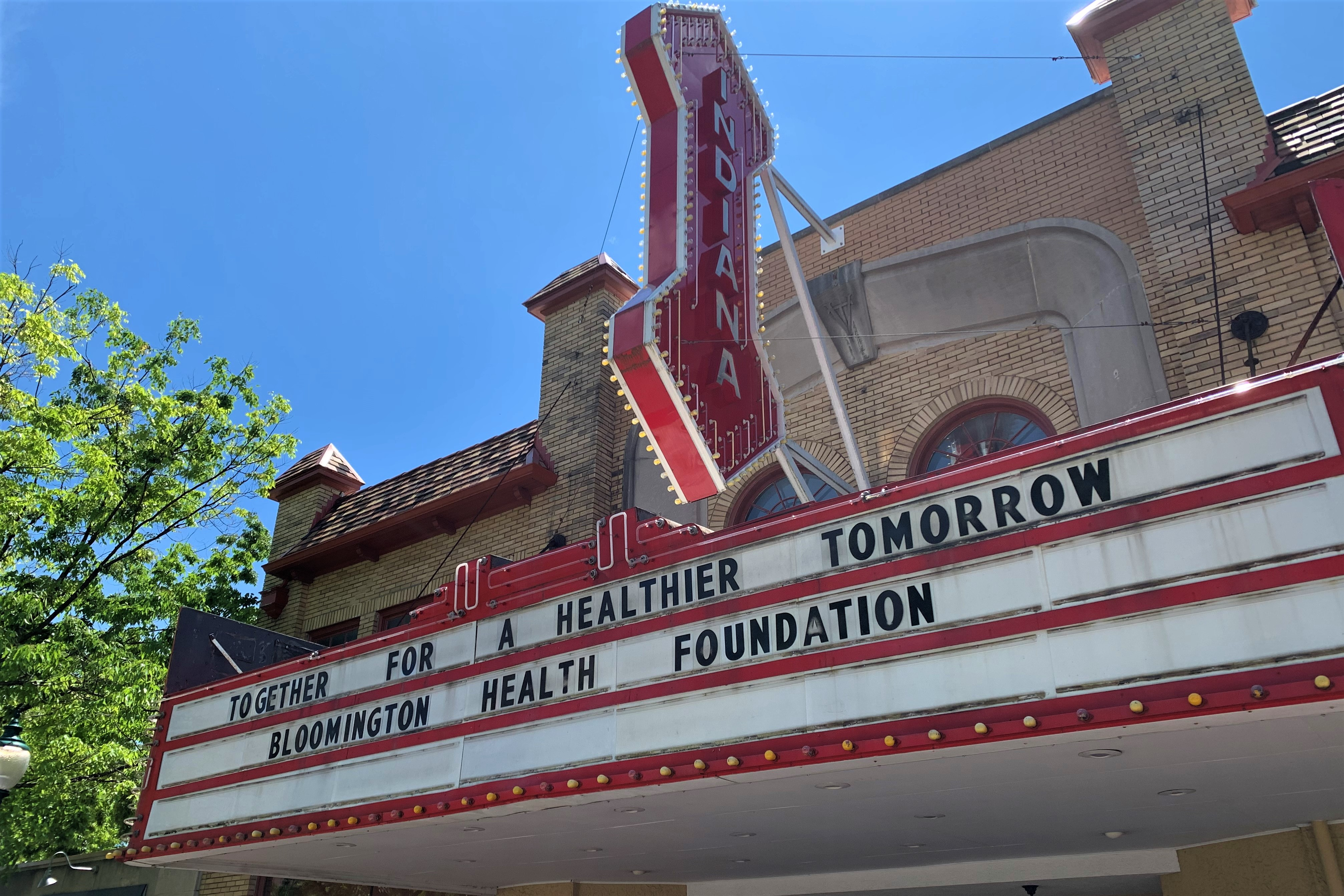 The marquee on the Buskirk-Chumley Theater in Bloomington.