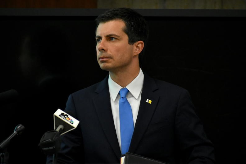 South Bend Mayor Pete Buttigieg gives an update to the common council during the investigation into the police shooting death of South Bend resident Eric Logan.