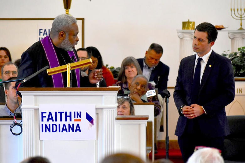 Rev. Gilbert Washington asks South Bend Mayor Pete Buttigieg questions on behalf of Faith in Indiana.
