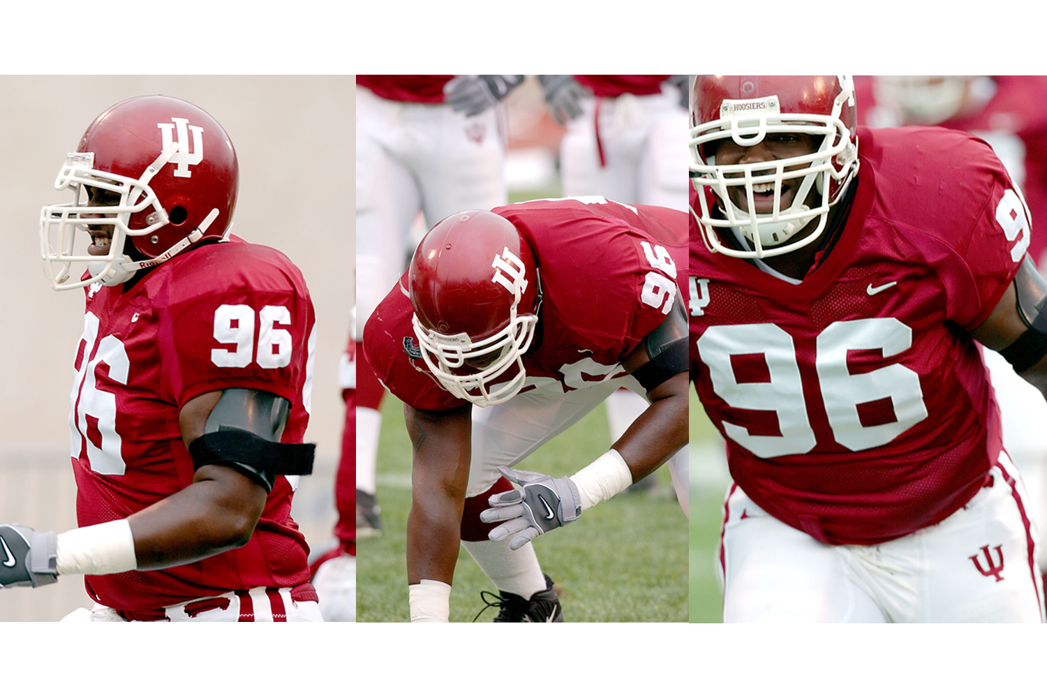 A collage of photos of former IU football player Chris Beaty.