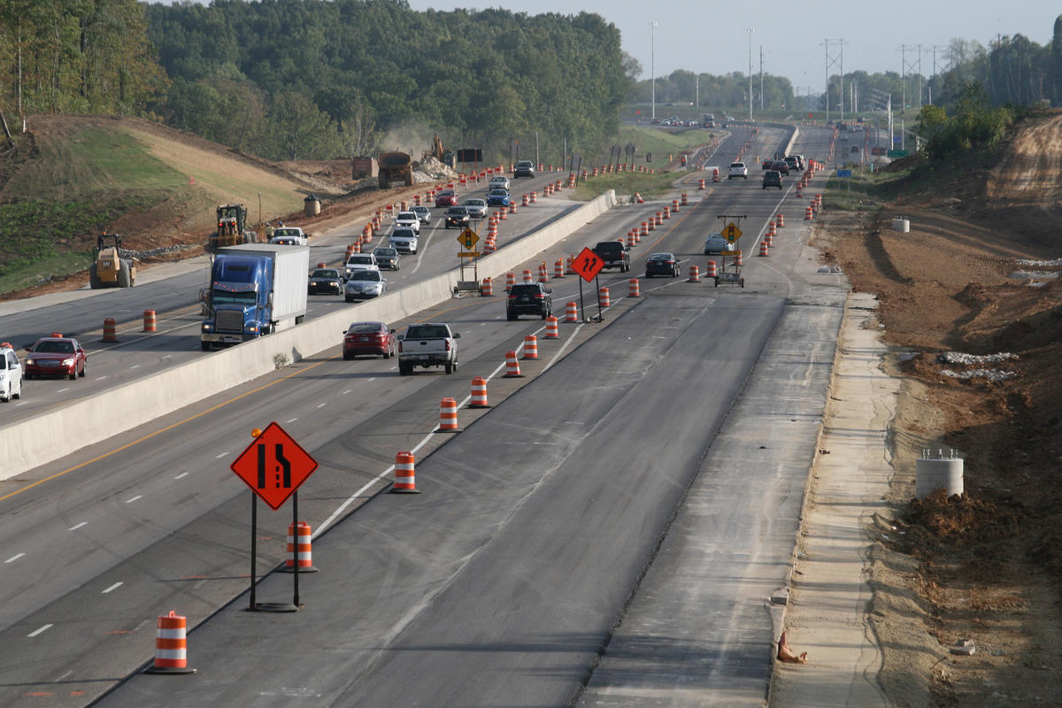 A stock image of interstate/highway construction.