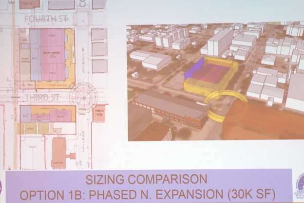 A preferred siteplan of the Monroe Convention Center expansion