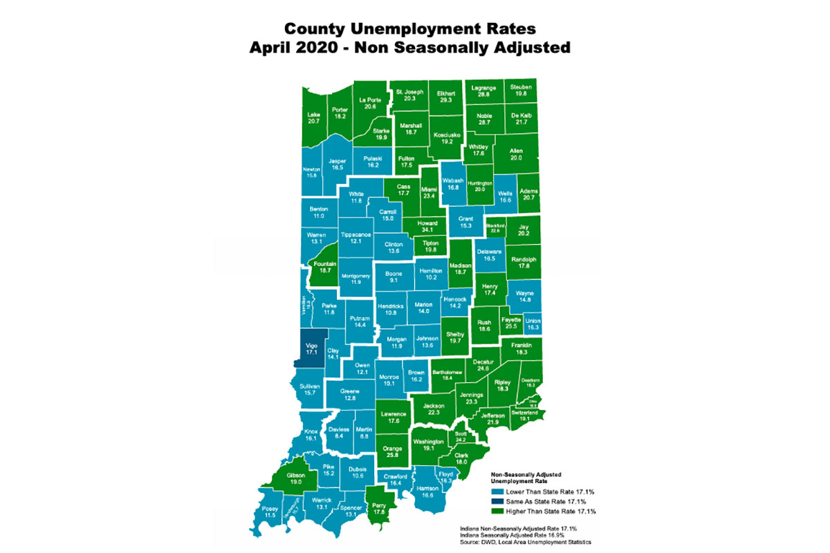Unemployment rates for Indiana counties in April 2020.