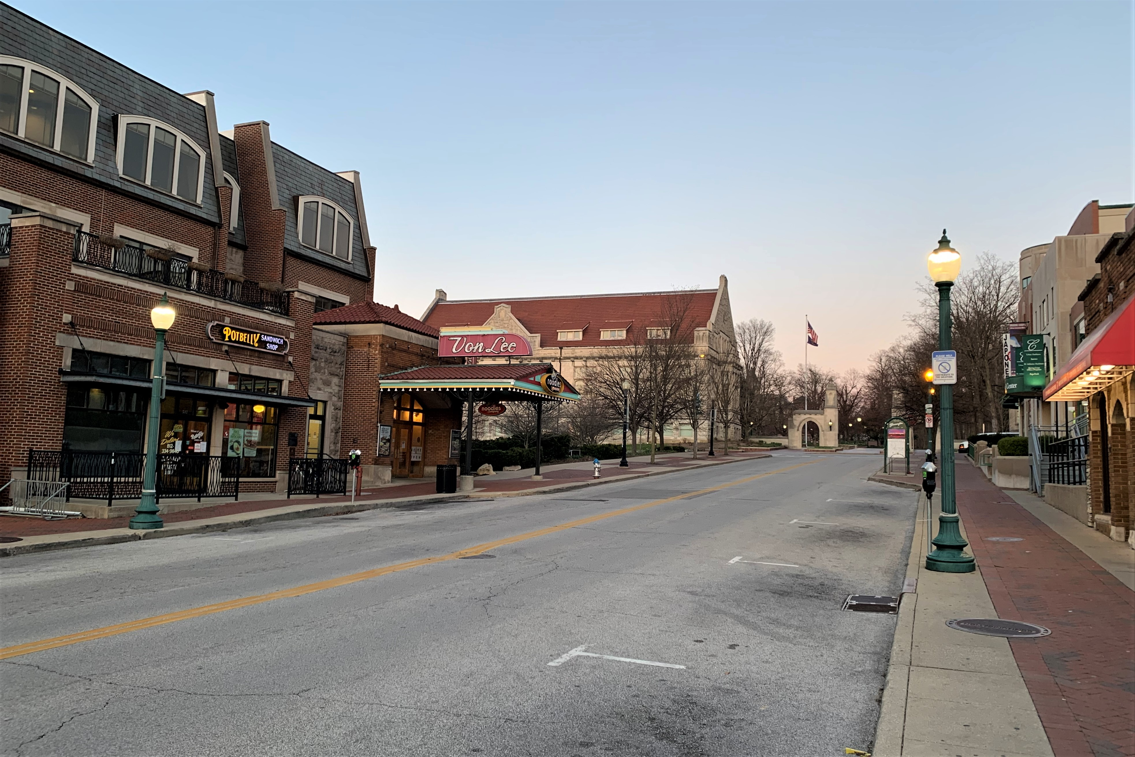 Kirkwood Ave. near IU's campus is devoid of cars one day before Gov. Eric Holcomb's coronavirus Stay-At-Home order will take effect.