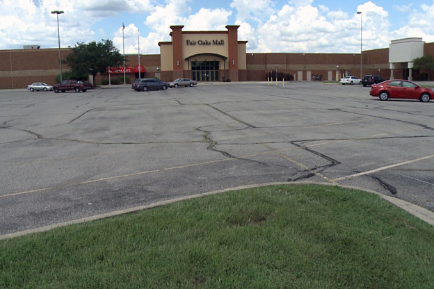 Empty parking lot at Fair Oaks Mall