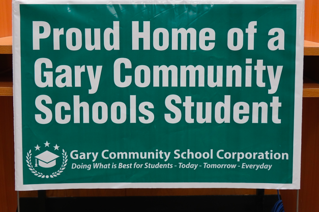 A yard sign to promote Gary Community School District.