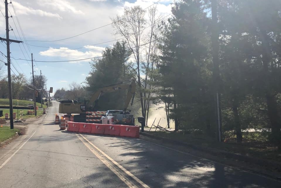 Photo of work on a gas main break on Fairfax Road in Bloomington, Nov. 5, 2019.
