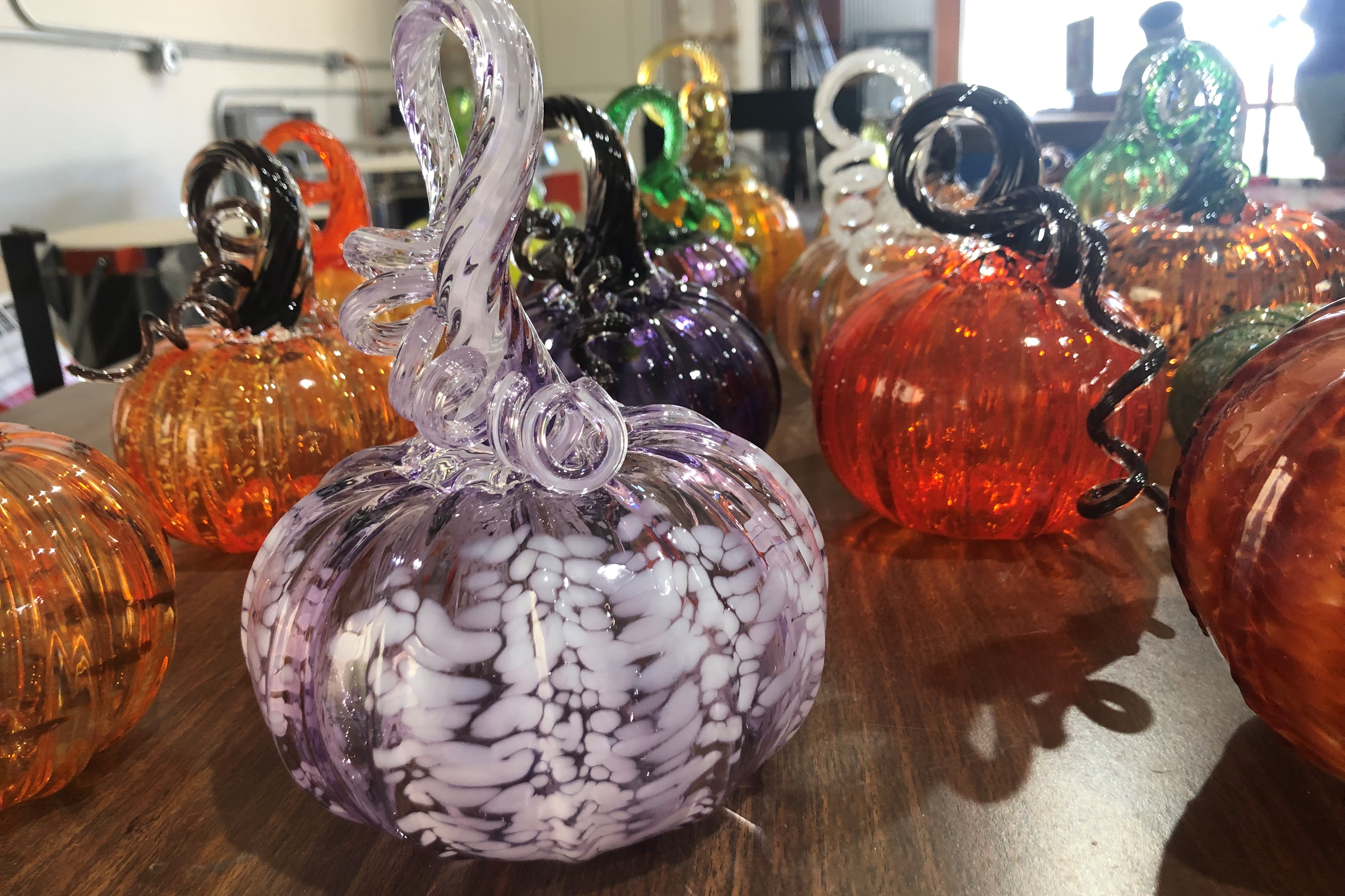 Glass pumpkins to be displayed in the Great Glass Pumpkin Patch of 2019.