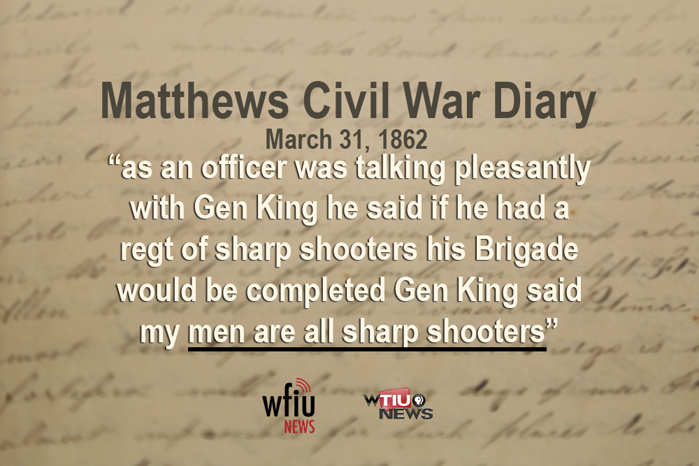 March 31 - Civil war diary page with a quote typed on it
