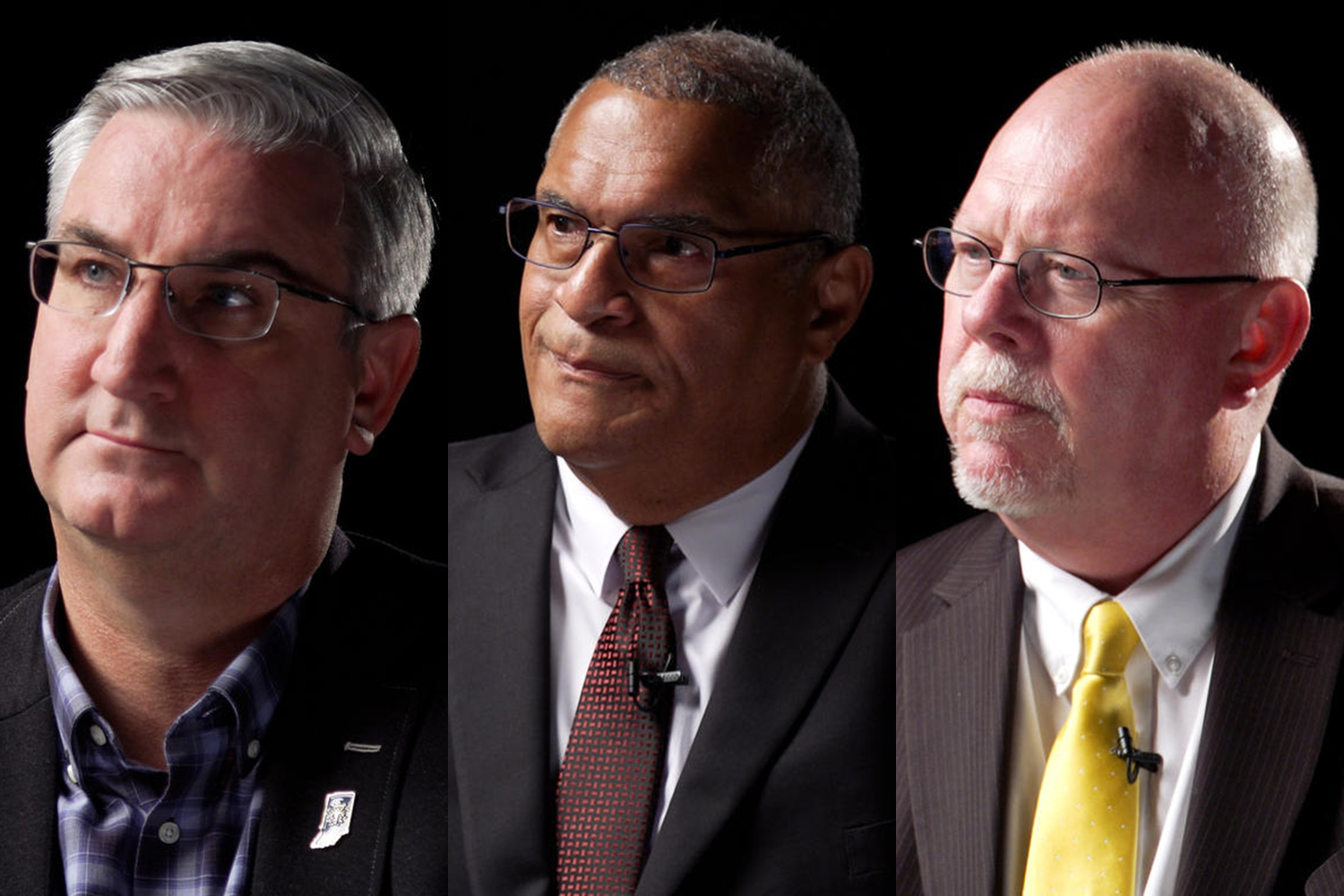 (L-R) Gov. Eric Holcomb (R), Dr. Woody Myers (D) and Donald Rainwater (L).