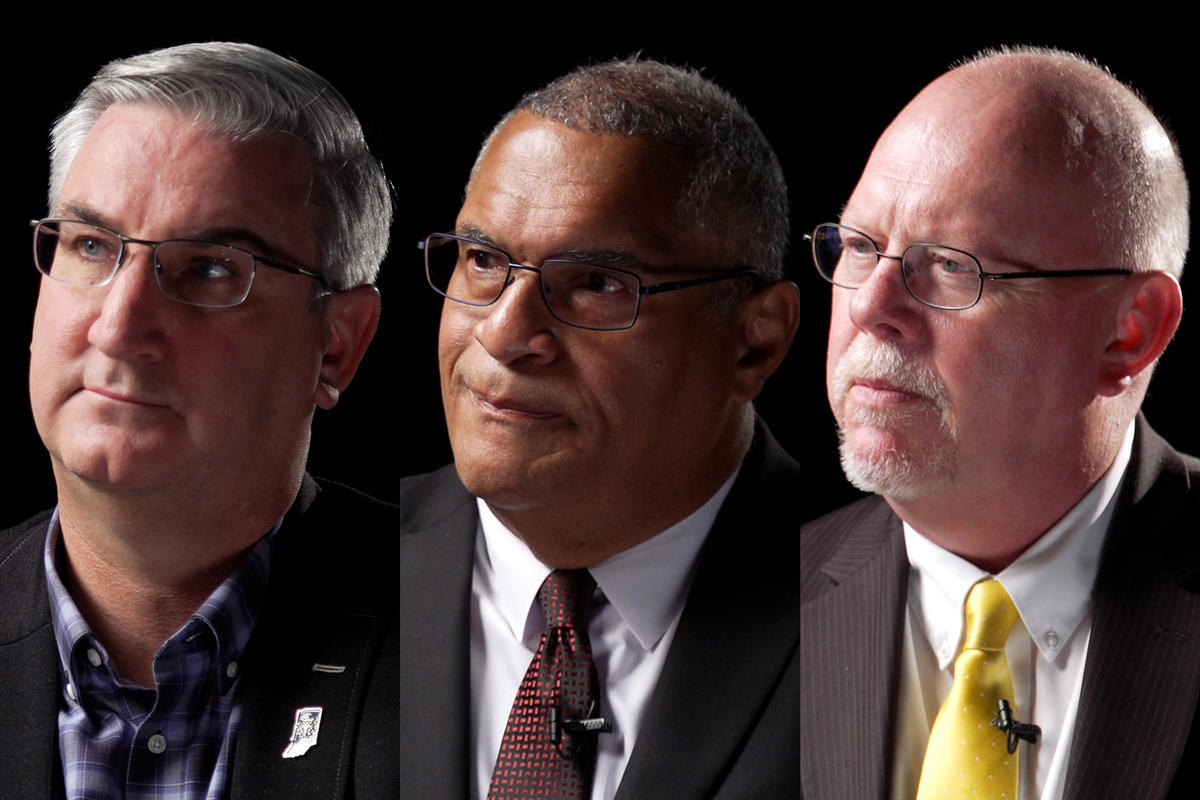 Gov. Eric Holcomb, Dr. Woody Myers and Donald Rainwater
