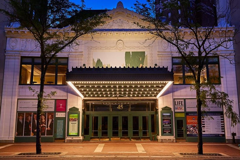 An image of the outside of Hilbert Circle Theater, where the Indianapolis Symphony Orchestra plays, in Indianapolis.