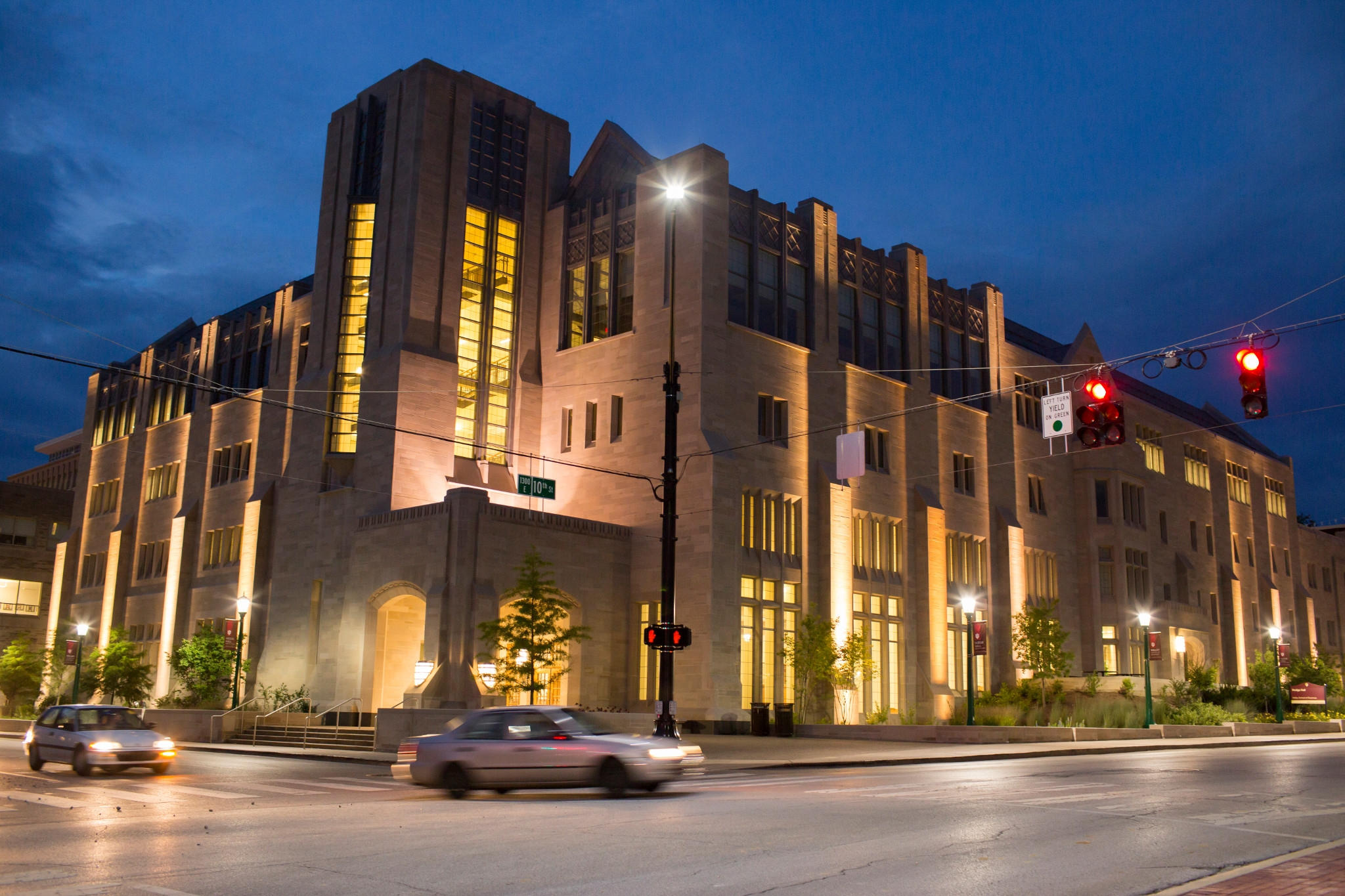 A nighttime photo of Hodge Hall, the undergraduate Kelley School of Business building on IU's Bloomington campus.