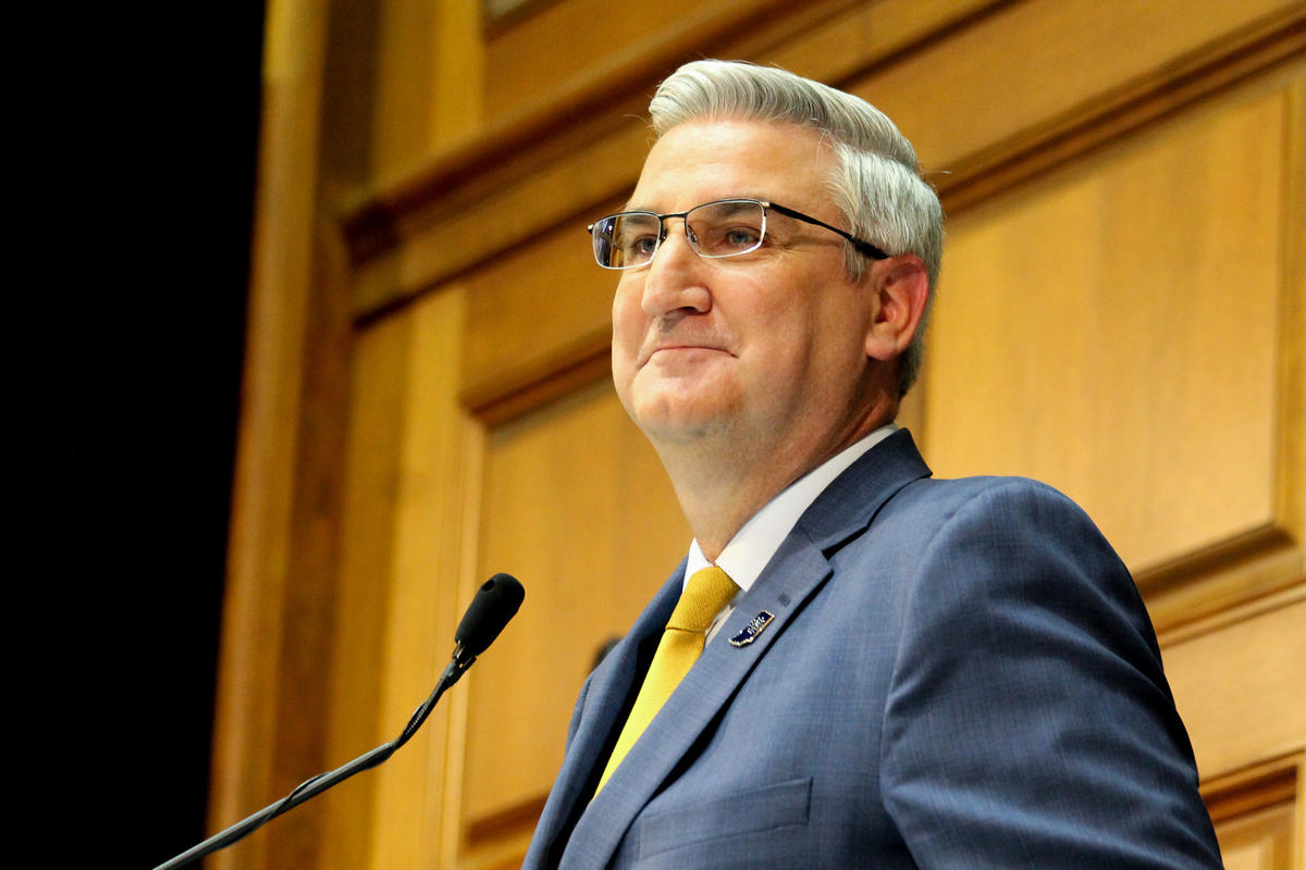Gov. Eric Holcomb speaks during the 2020 State of the State Address.