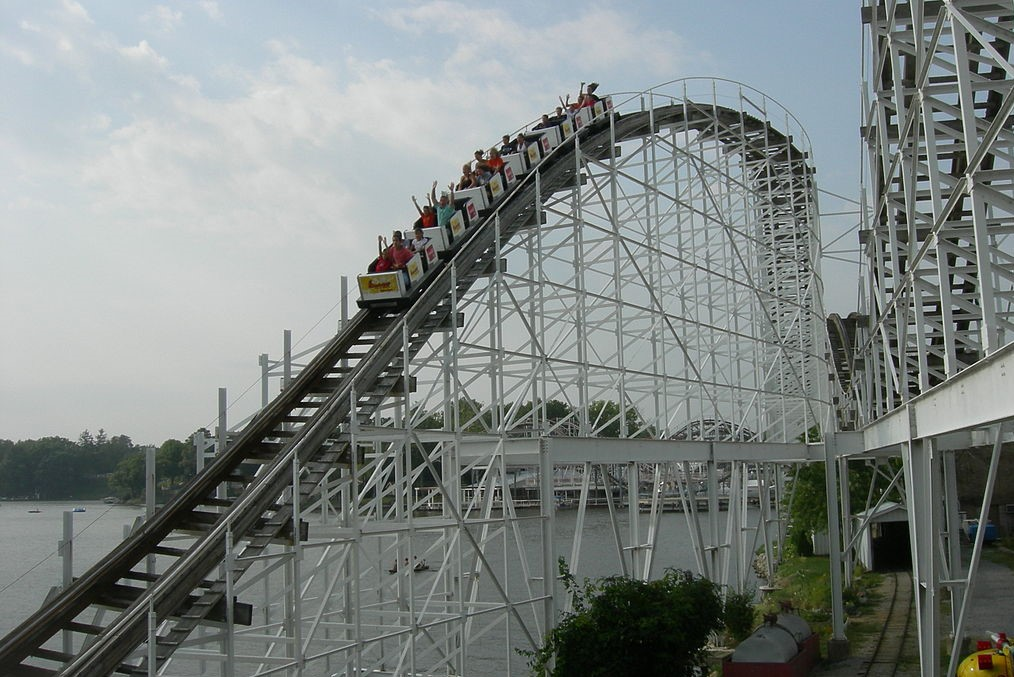 A shot of the Hoosier Hurricane roller coaster at Indiana Beach.