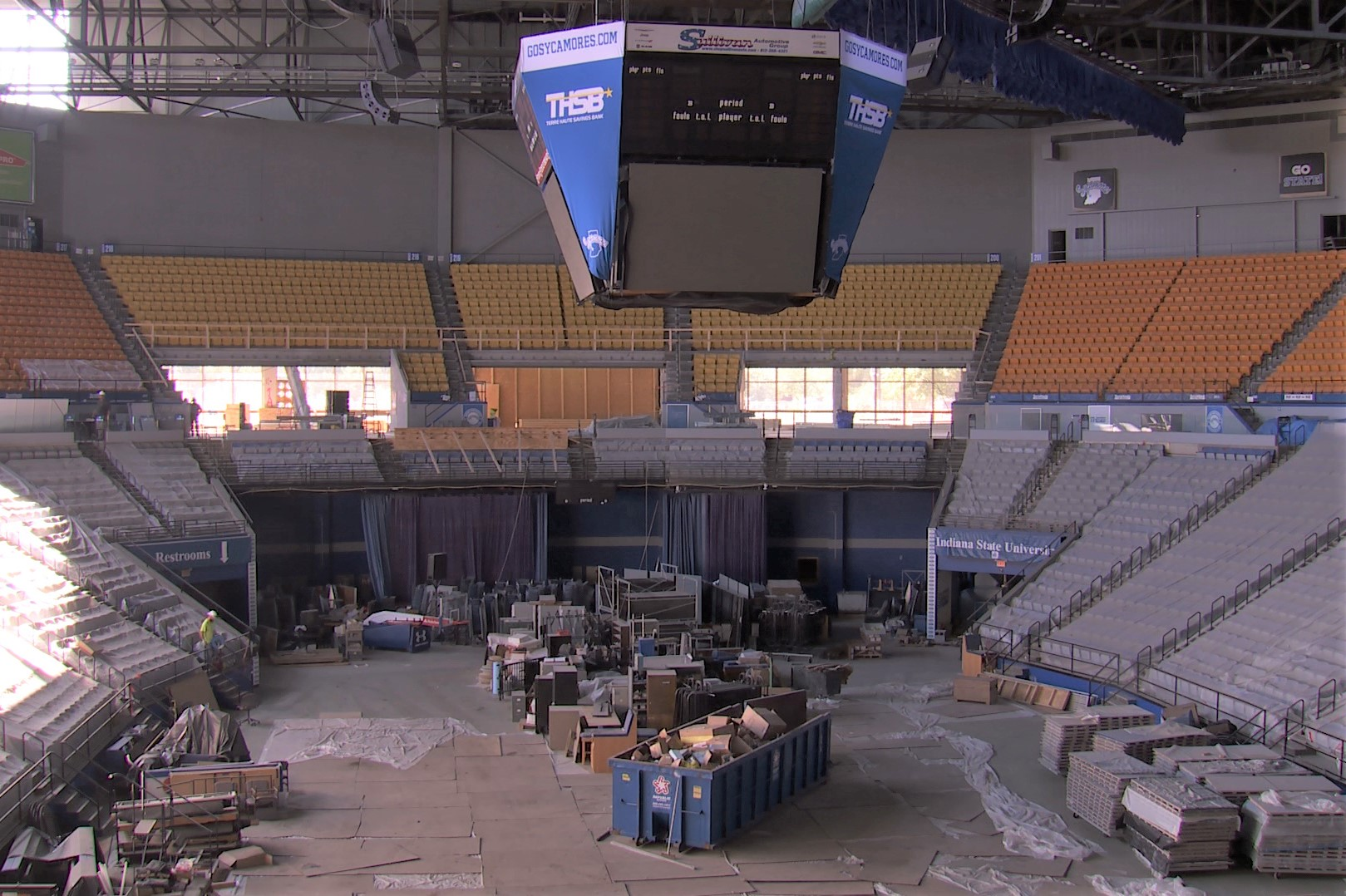 The inside of the new Hulman Center under renovation, Sept. 4, 2019.