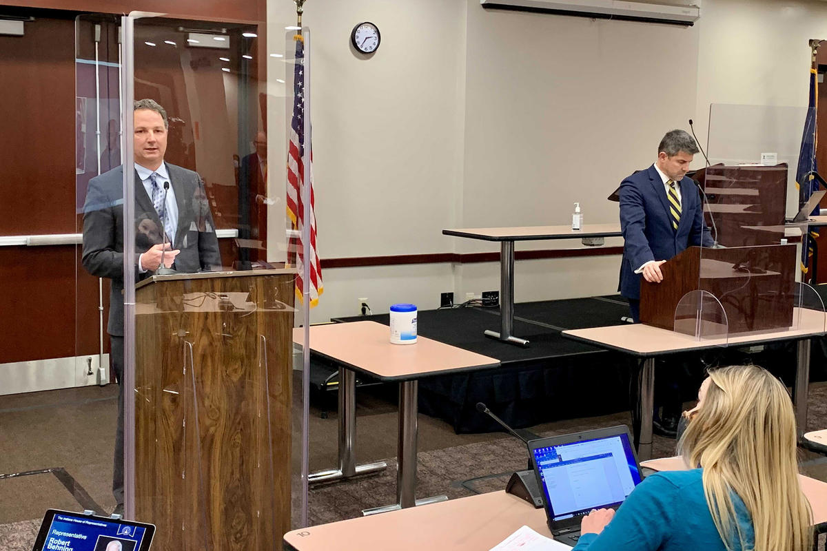 House Speaker Todd Huston (R-Fishers), left, and Senate President Pro Tem Rodric Bray (R-Martinsville), right, talk with reporters on the first day of the 2021 legislative session.