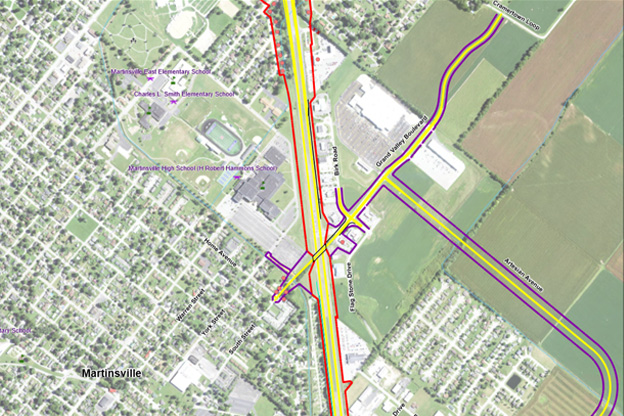 map of Grand Valley overpass in Martinsville