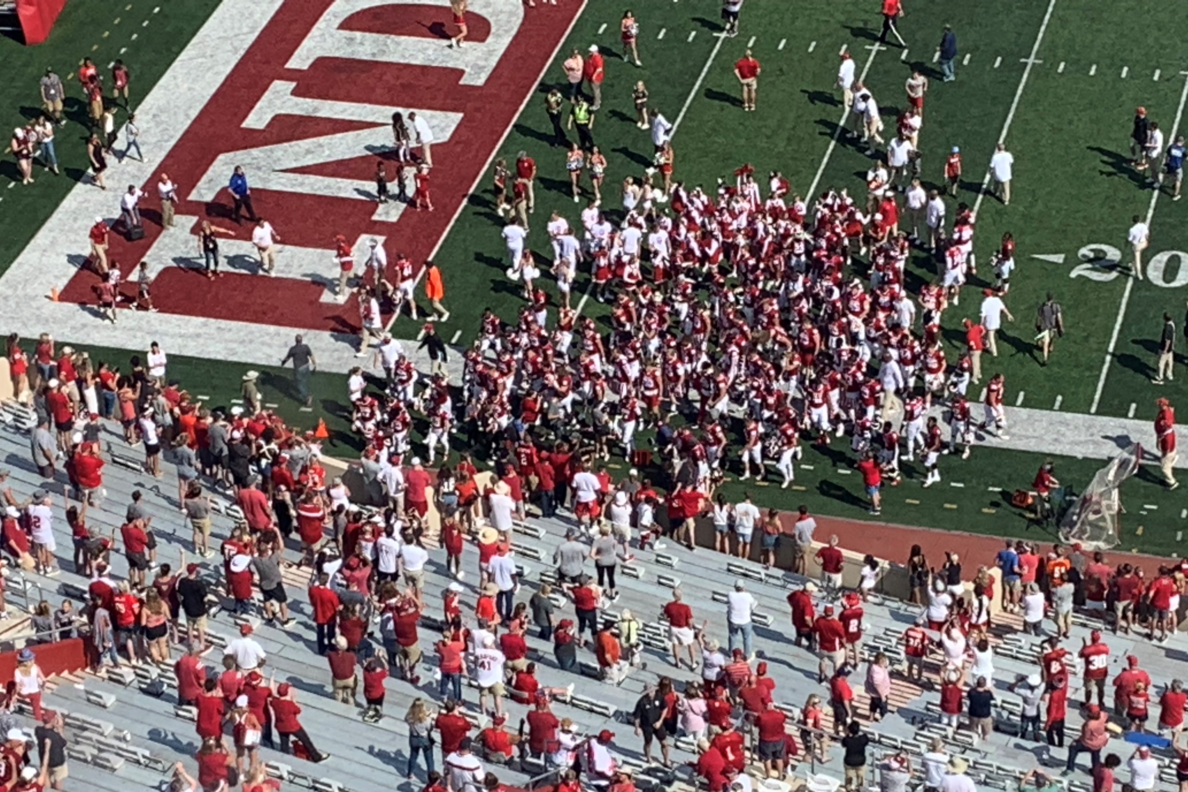 IU Football celebrates a victory over Connecticut at Memorial Stadium in September 2019.