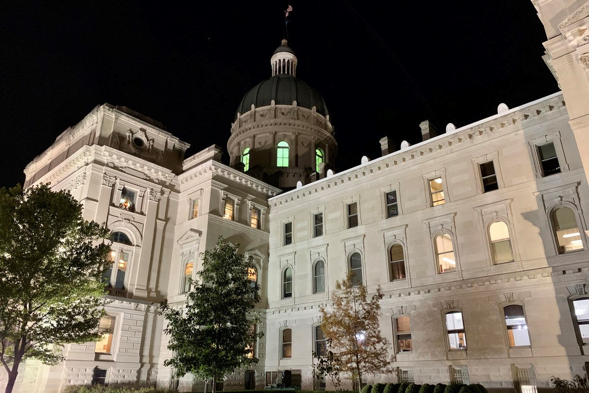 Indiana statehouse at night