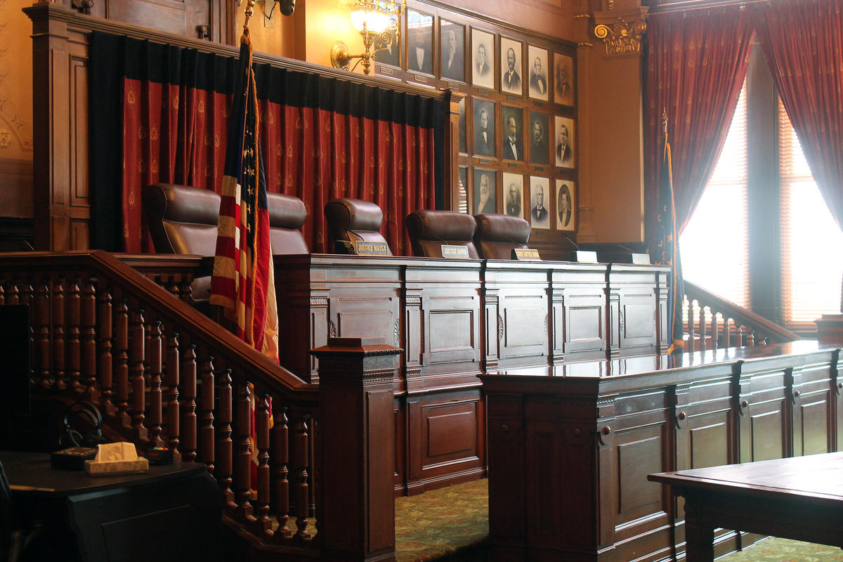 The inside of the Indiana Supreme Court.