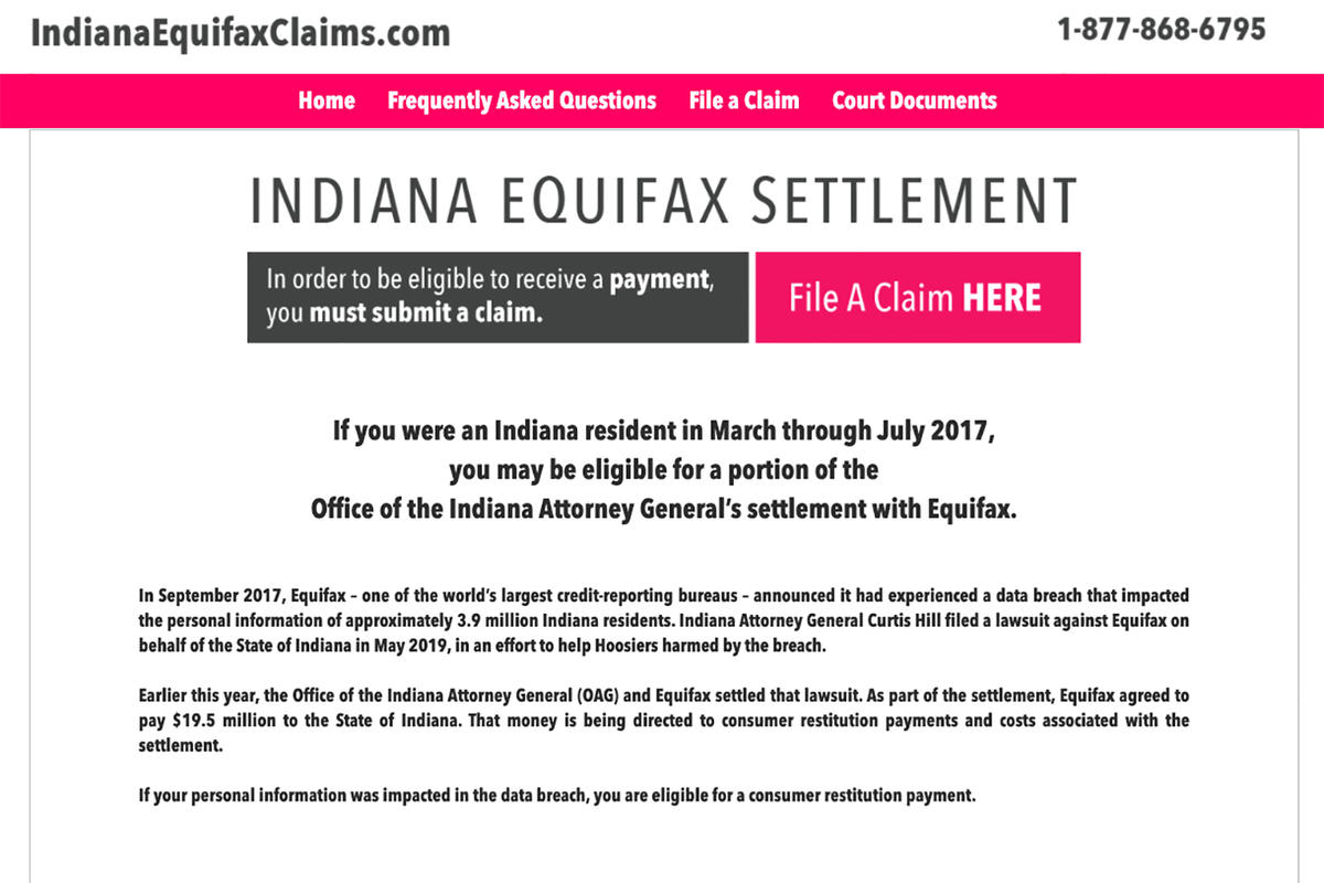 IndianaEquifaxClaims.com screenshot