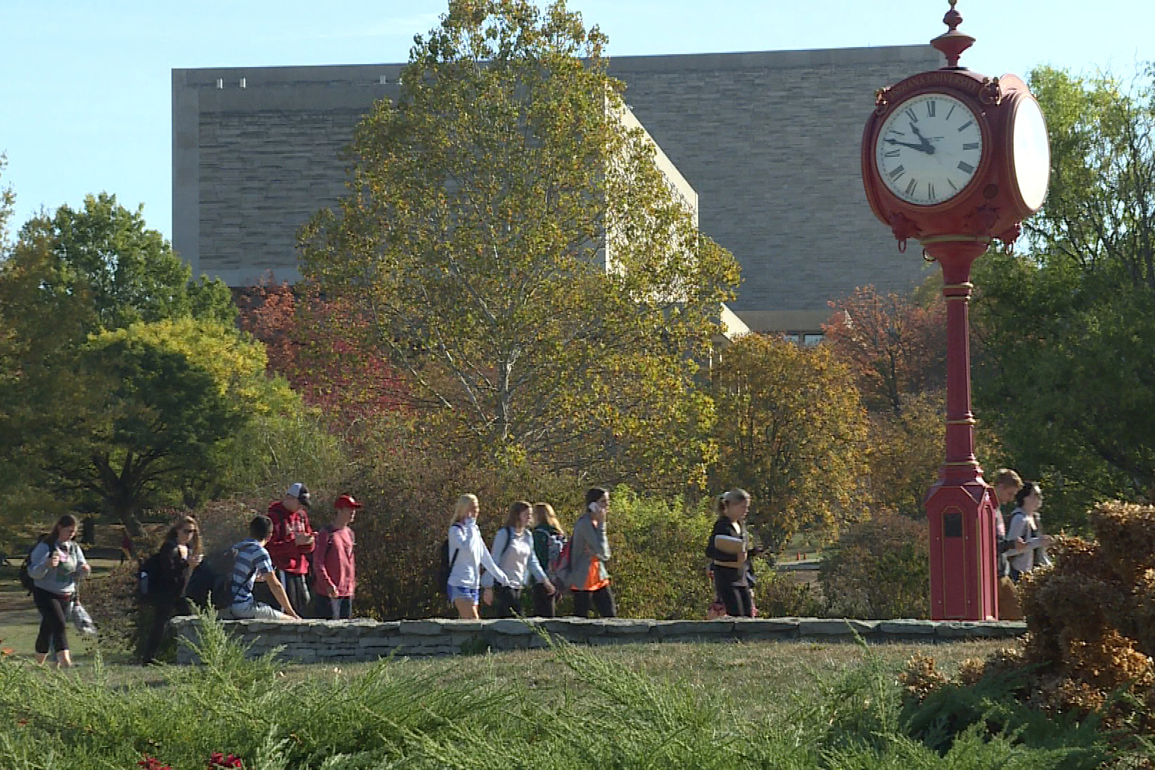 A red clock on the campus of Indiana University-Bloomington.