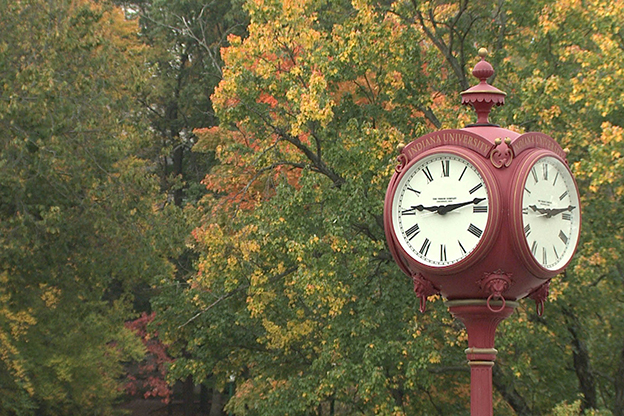 One of the famous red clocks on the Indiana University-Bloomington campus.