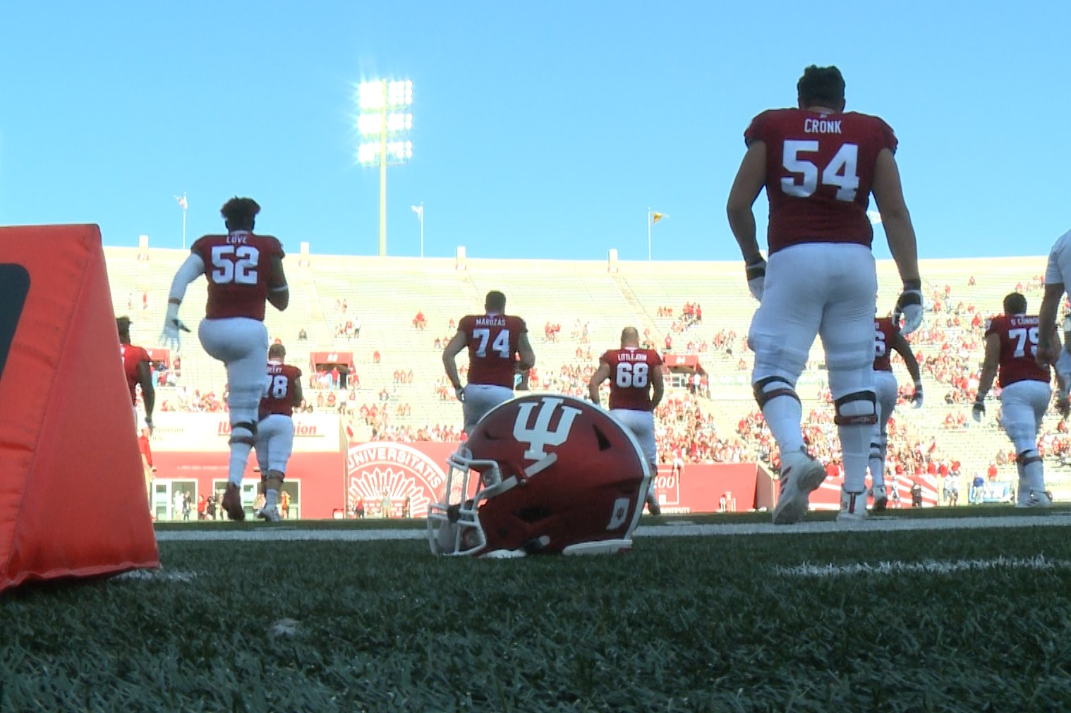 IU football players warm up before their game against EIU, Sept. 7, 2019.