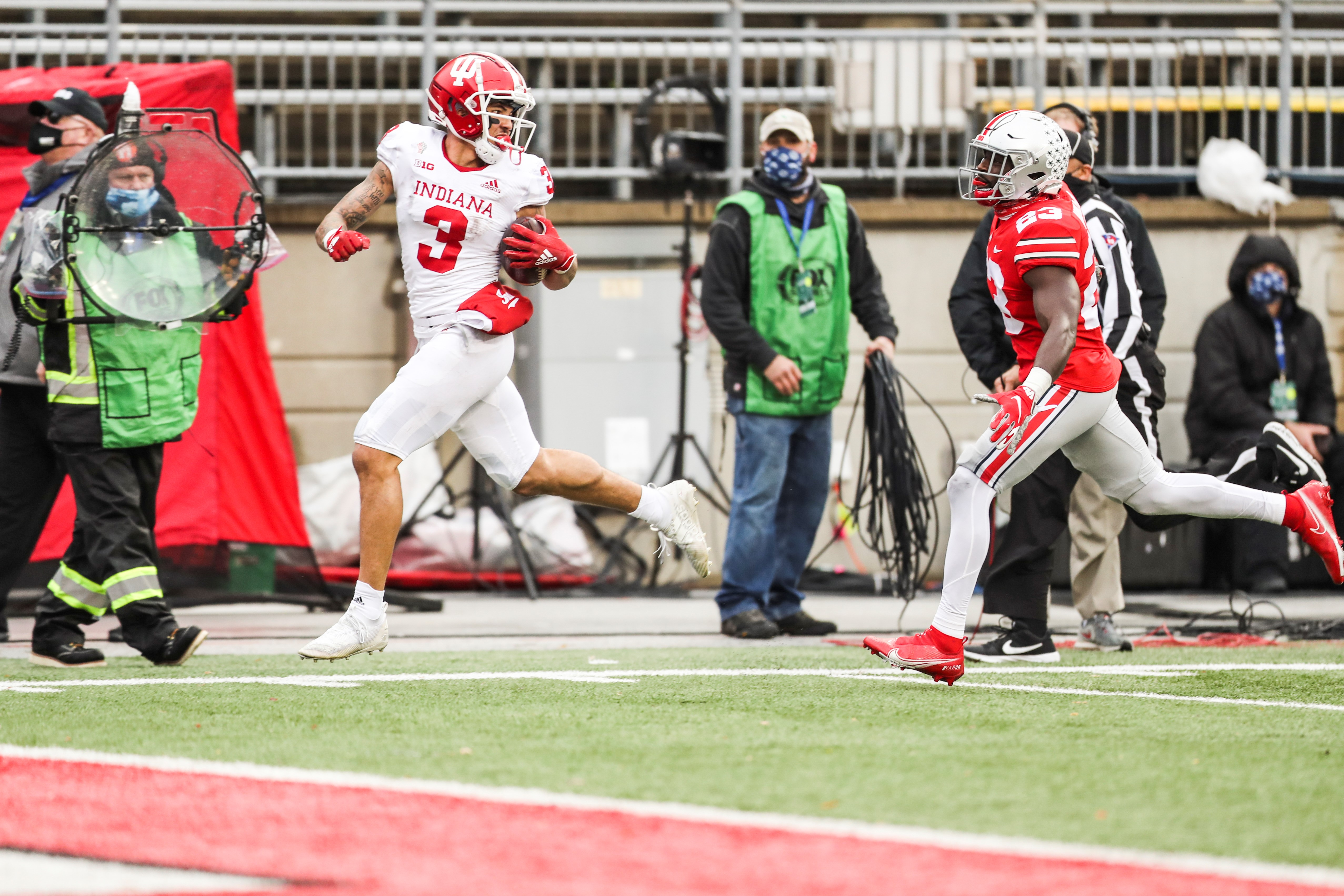 Indiana wide receiver Ty Fryfogle catches a 63-yard touchdown pass against Ohio State Saturday.